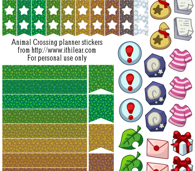 Free printable Animal Crossing planner stickers